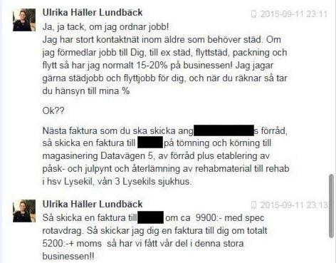 Skärmdump som visar en del ur en Facebook-konversation mellan Ulrika Häller Lundbäck och Milad Ghabro.