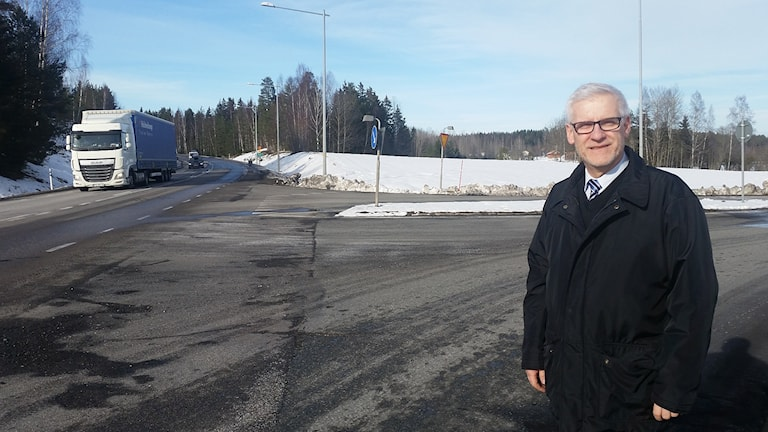 Greger Emilsson på E45 där lastbilen började brinna.