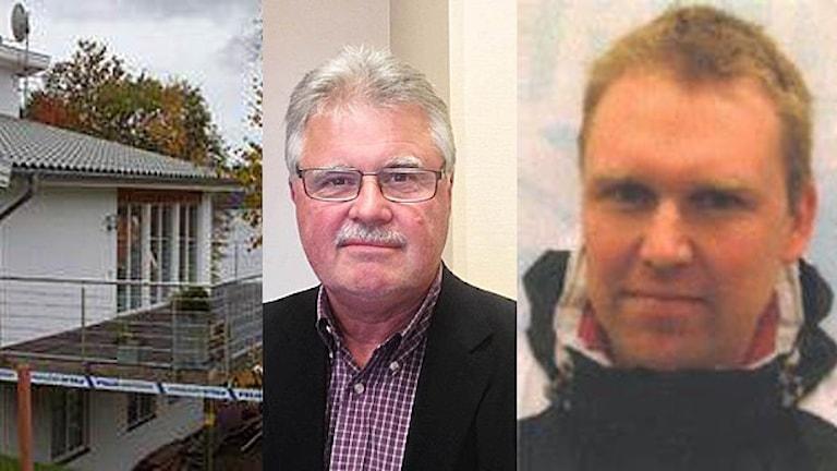Montage som visar Peter Larssons hus i Ljungskile, kriminalkommissarie Thord Haraldsson och försvunne Peter Larsson.