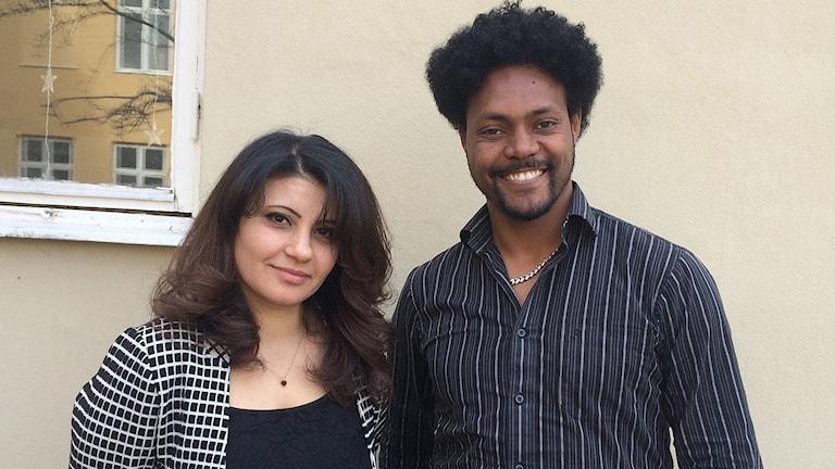 Maha Aljundi och Isaac Mehari.