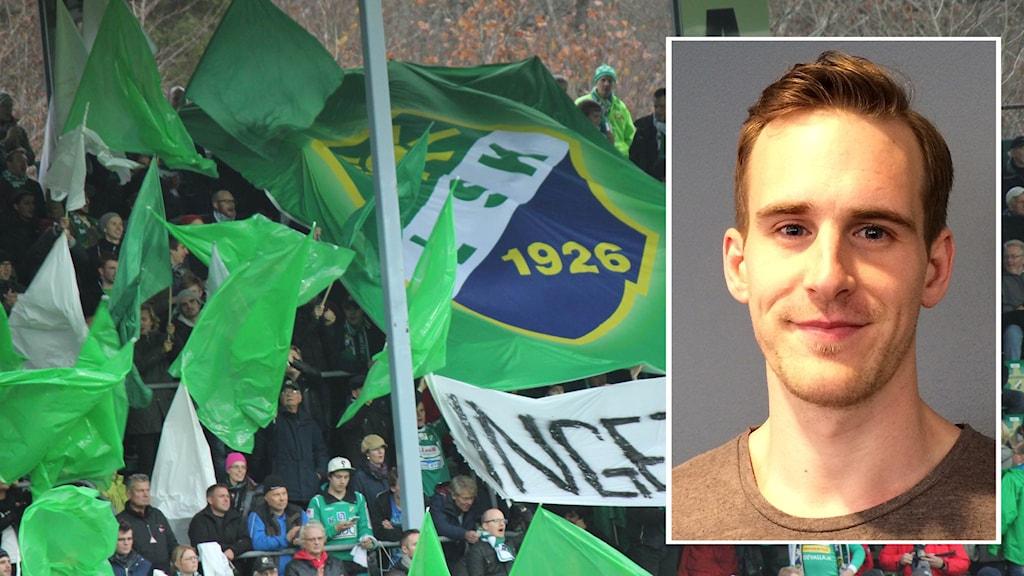 Ljungskile SK-fans på läktaren med flaggor och klubbmärke, samt en infälld bild på P4 Väst-medarbetaren Martin Ahlin.