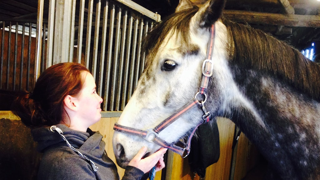Hästtränaren Emelie Hecktor klappar sin häst.