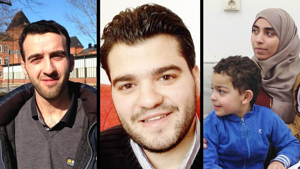 Ansikten på tre flyktingar som P4 Väst följer under året.