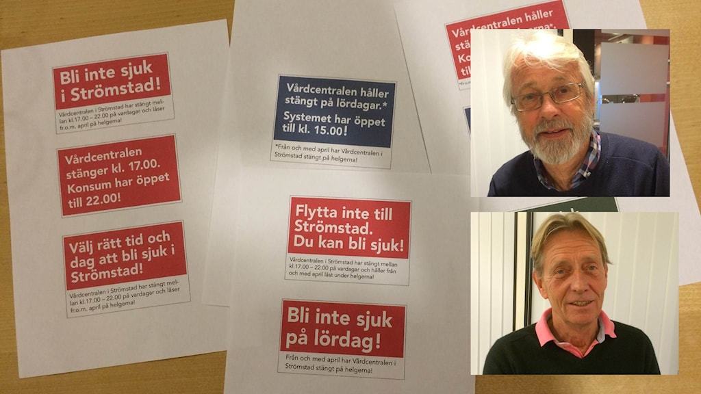 Protester mot nedläggning av sjukvård i Strömstad.