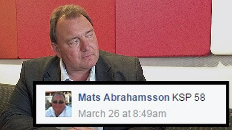 Mats Abrahamsson. Bilden är ett montage som visar en kommentar han skrivit på Facebook.
