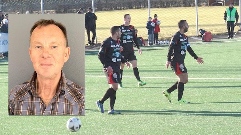 Spelare i FC Trollhättan, och en infälld bild på P4 Västs sportreporter Bengt Israelsson.