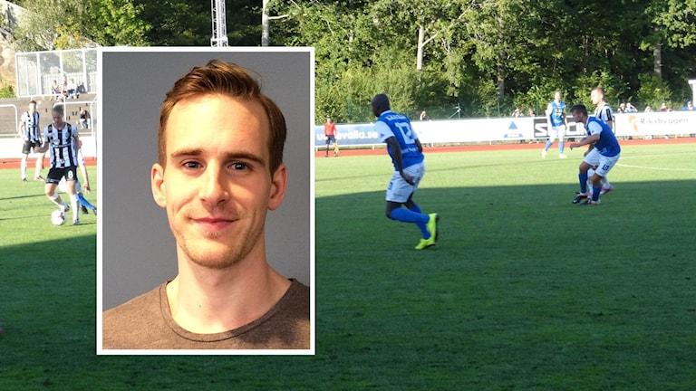 P4 Västs Martin Ahlin, samt en matchbild som visar spelare i IK Oddevold.
