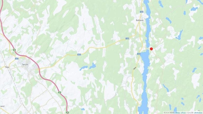 Karta som visar var en trafikolycka inträffat i Bullarebygden.