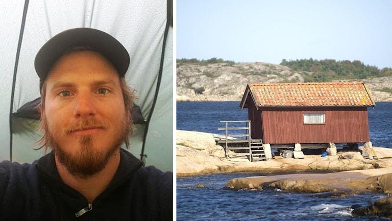Ett bildmontage som visar Denny Mattsson och en sjöbod på Koster.
