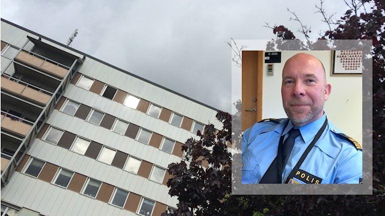 Lokalpolisområdeschefen Rickard Fremark inklippt i en bild på Kronogården.