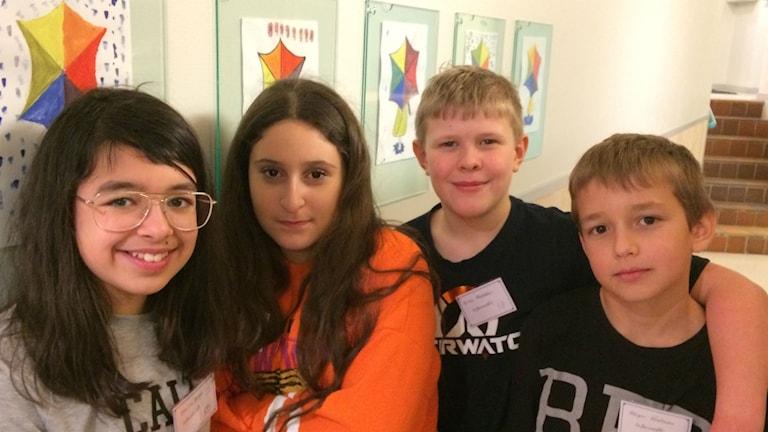 Elias, Hevin, Holger och Emilia, elever på Dalabergskolan i Uddevalla.