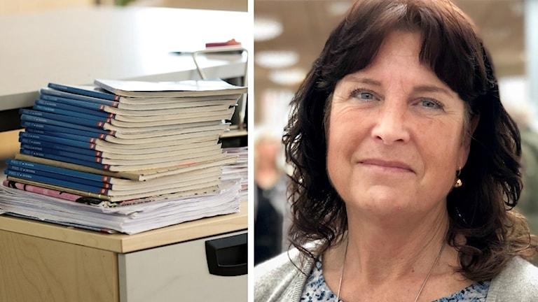 Liselott Sörensen Ringi och en hög böcker. Liselott är svarthårig, ser snäll ut. Rätt gammal. Blåa ögon.