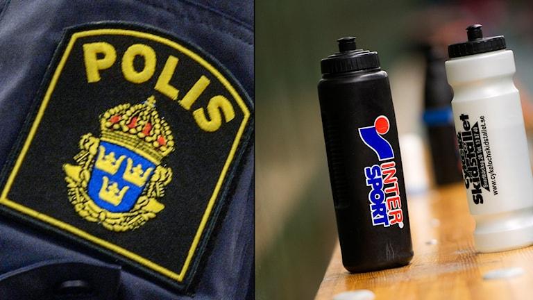 En bild på en polisuniform och vattenflaskor.