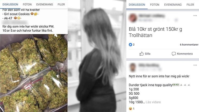 Ett bildmontage som visar skrämdumpar från Facebookgrupp där det annonseras om droger, samt en svartvit bild som visar en ung kvinna.