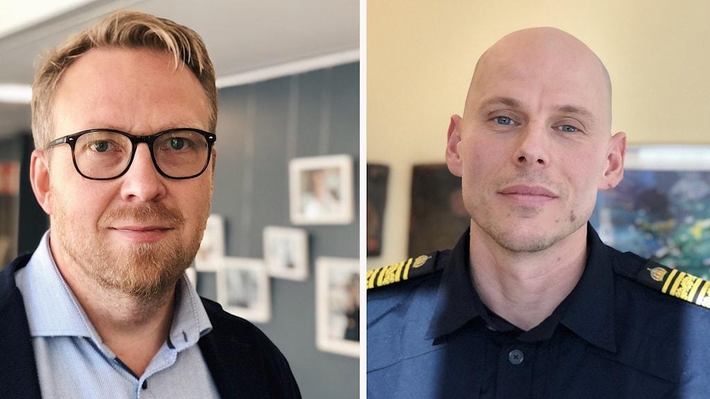 Henrik Sundström (M) och Lars Eckerdal, polisområdeschef i Fyrbodal.