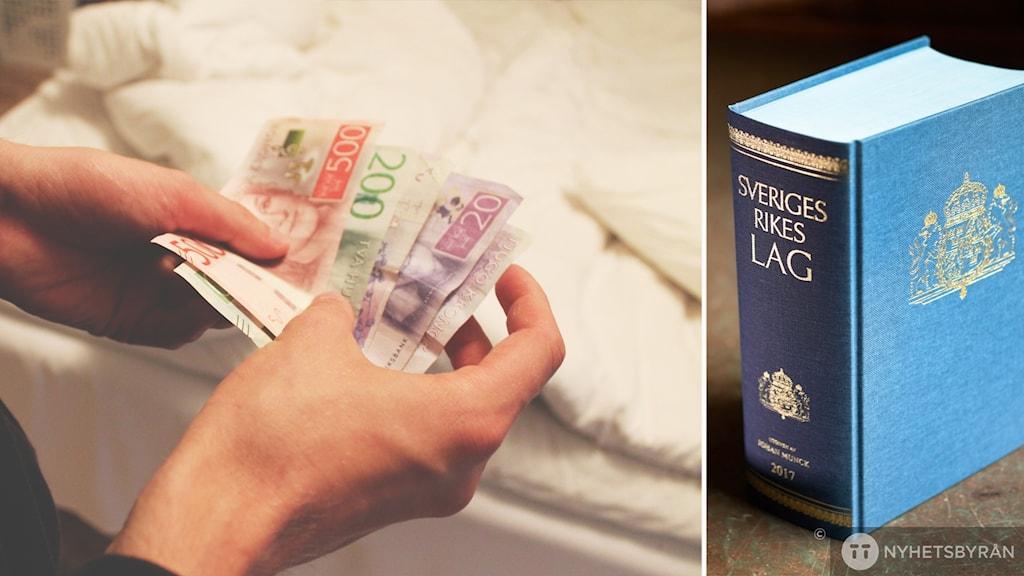 Händer håller i pengar i ena delen av bilden. I andra delen av bilden står en lagbok. Bilden är ett montage.