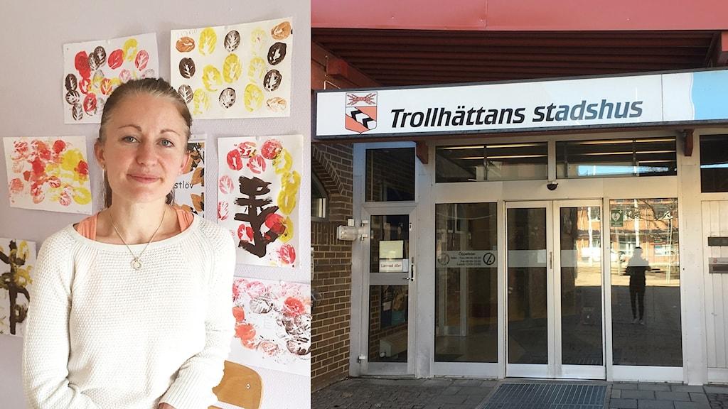Fotomontage som visar förskolepedagogen Mikaela Sarge och Trollhättans stadshus.