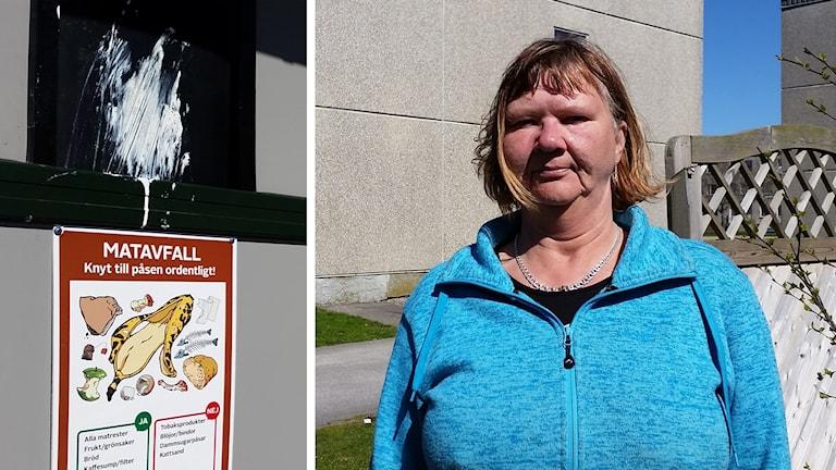 Carina Persson i sitt bostadsområde där det slarvas med sopor.