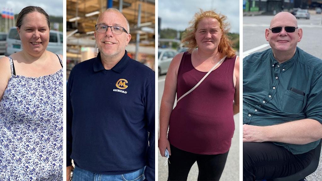 Tre norska handlare på plats på Nordby och Grensemats driftschef Göran Lundgren.