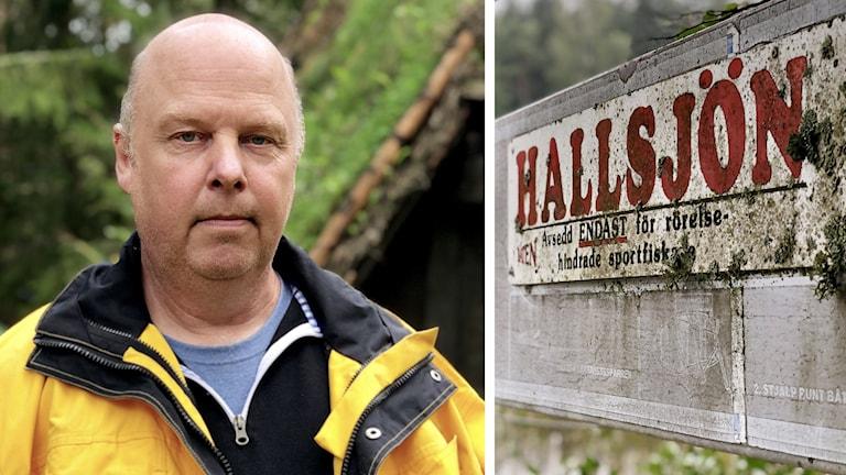 Kenneth Andersson på Hallsjön. Han bär en gul jacka och står framför en gammal vikingabyggnad som byggdes i samband med en filminspelning på Hallsjön.