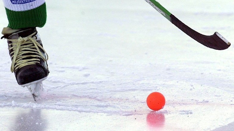Bandyklubb och bandyboll på isen.