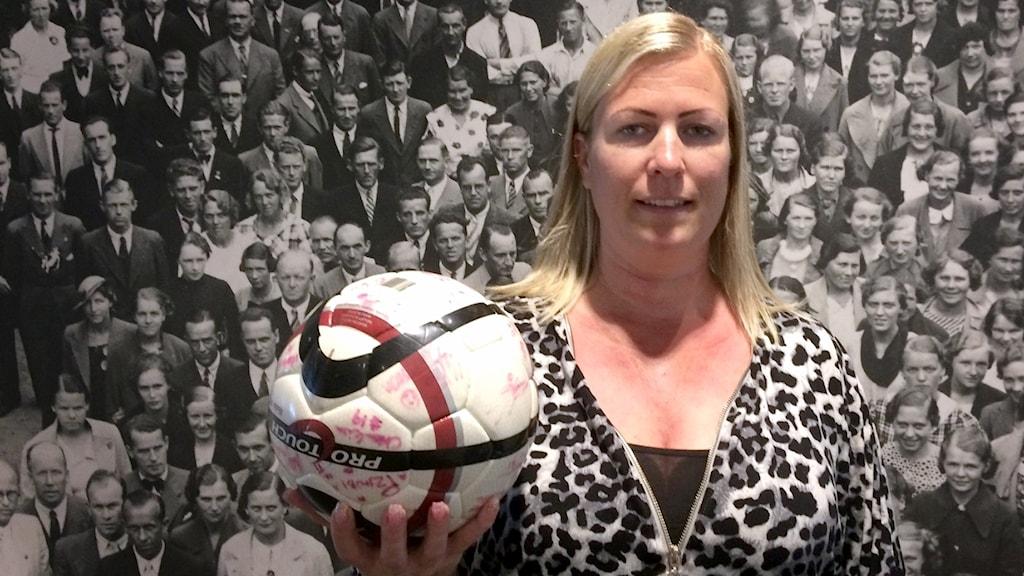 Fotbollstränaren Caroline Bjurhult.