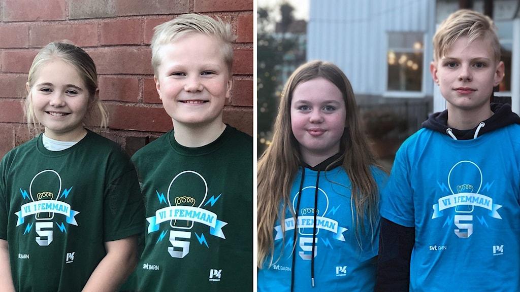 Irma Lidén och Adam Rydelid från Lyrfågelskolan  ställs mot Daniela Zinnerström och Arild Swärd  Skaftö skola