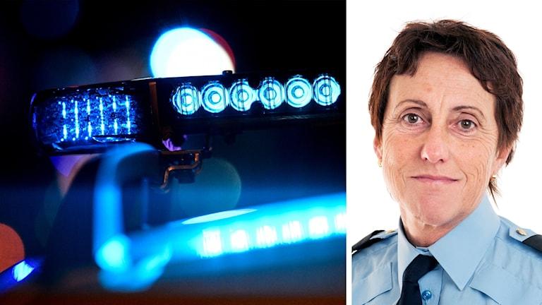 En bild på blåljus i mörker bredvid en bild på polisområdeschef Gunilla Gevreus.