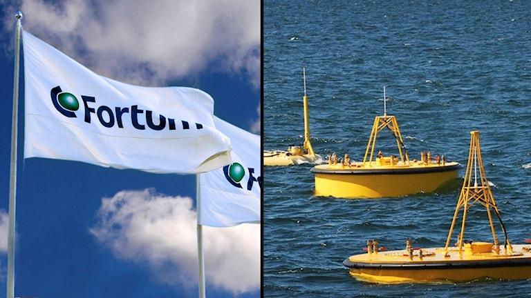 Fortumflagga och seabased.