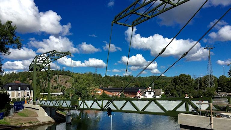Den nya klaffbron som invigdes i Trollhättan idag.