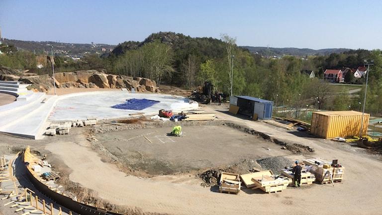 Bild på bygget av aktivitetsparken.