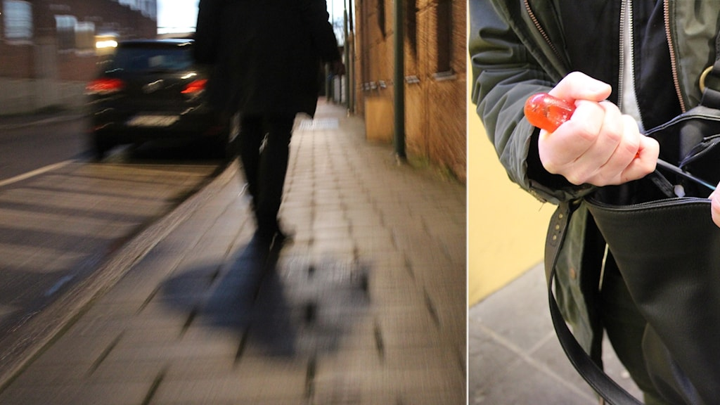 Montage på en bild på gående person i mörker och en hand som håller i en skruvmejsel