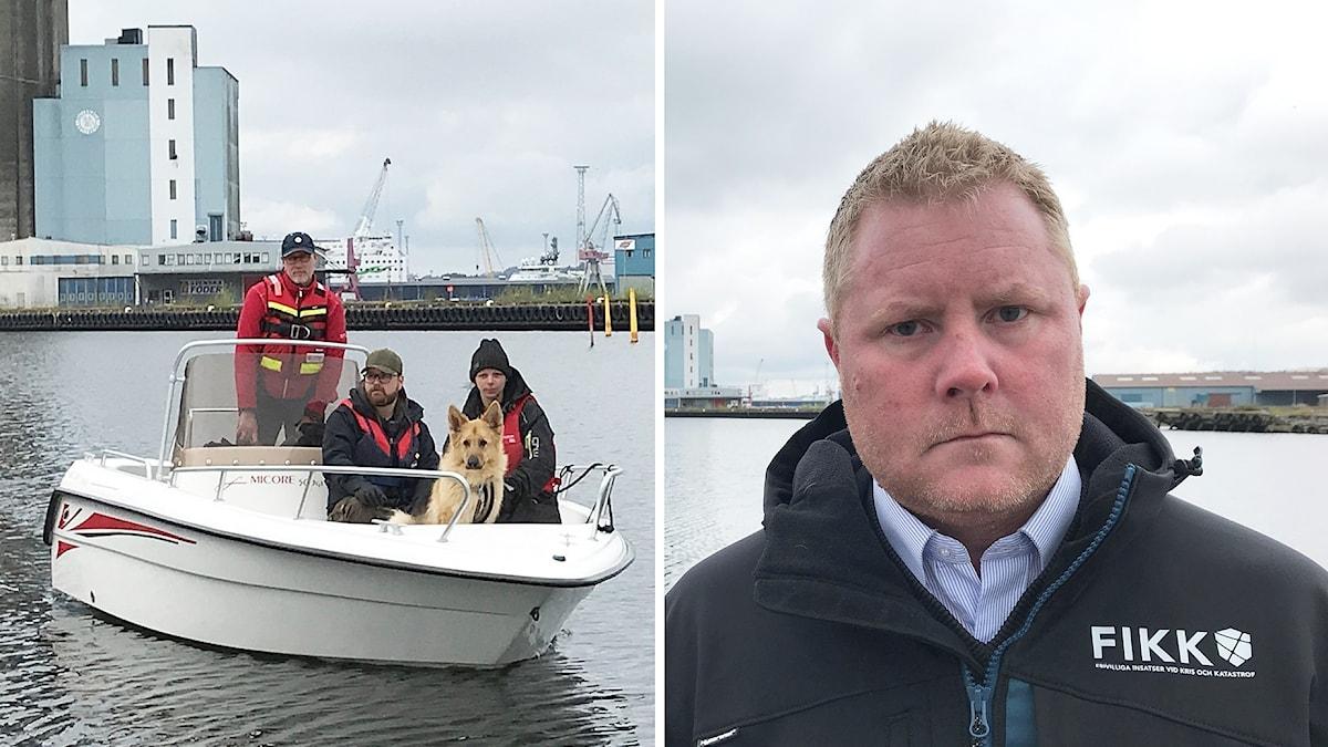 Bildmontage som visar tre personer och en hund sitter i en båt i Uddevalla hamn, och Daniel Brodin på frivilligorganisationen FIKK