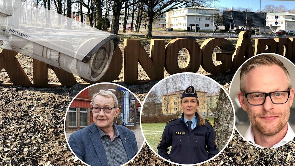 En transparent övervakningskamera, en gräsmatta i kronogården, polisen Jenny Wester och de båda politikerna.