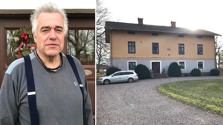 Ove Gustafsson är lantbrukare i Vänersborg. Här vid sin boningshus på gården.