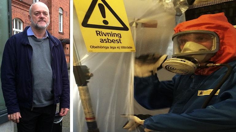 Bild på Ole Guldahl, och en skylt på Asbest.