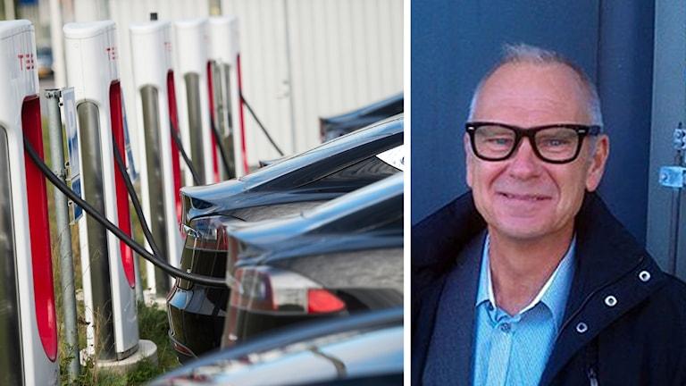 En laddstation till elbilar och Fredrik Sidahl, vd för FKG