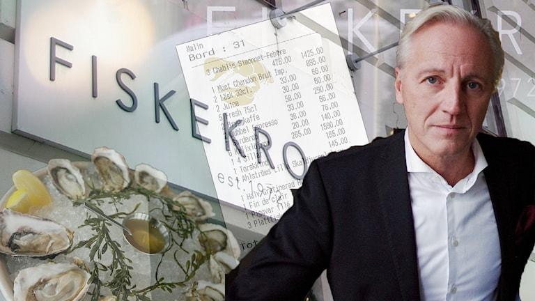 Mikael Fellenius inklippt framför fiskekrog-skylt
