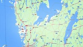 Karta över delar av P4 Väst-området