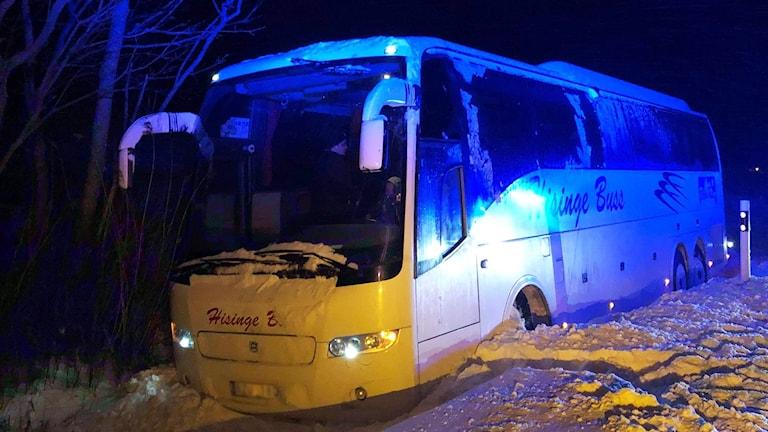 buss körde av E45 norr om Mellerud