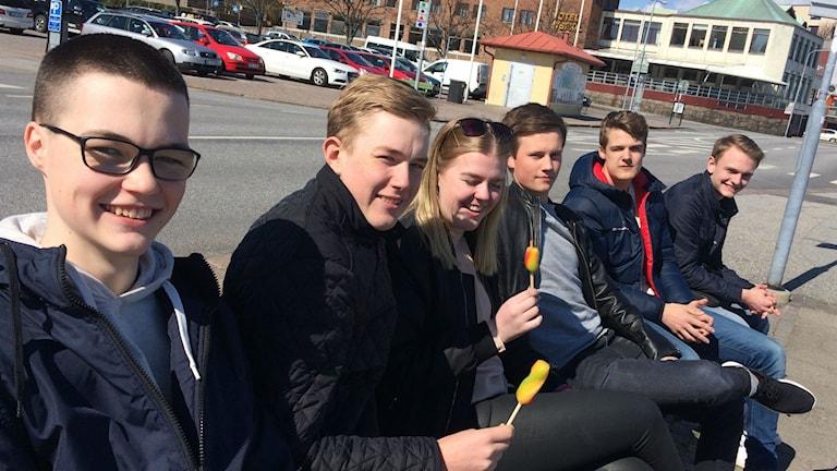 Bild på gymnasieleverna Jonathan, Isak, Filippa, Viktor, Carl och Robin