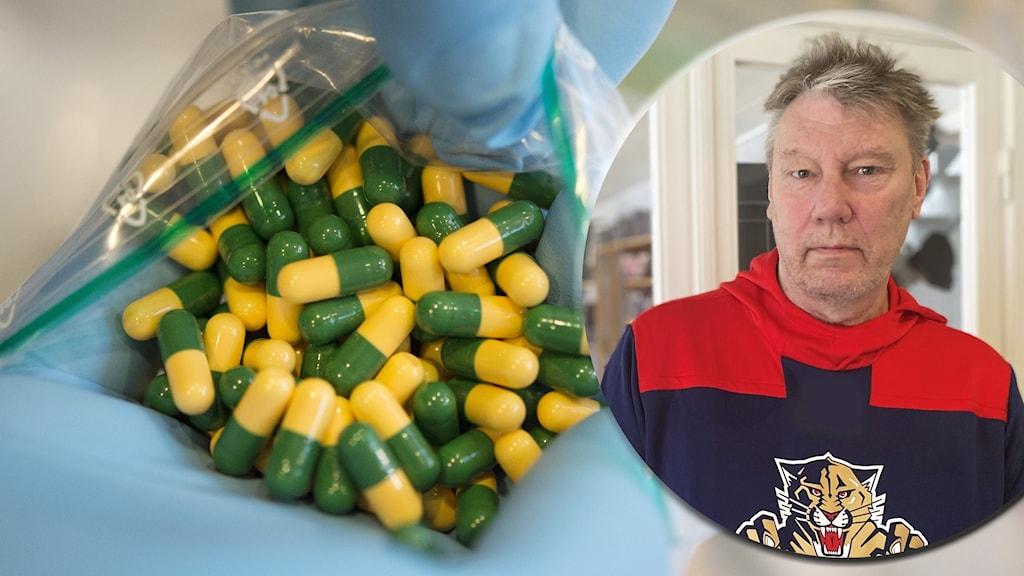 På bilden: Per Persson i kollage med Tramadol från tullen. Tabletterna är gula och gröna och det är många tabletter på bilden.