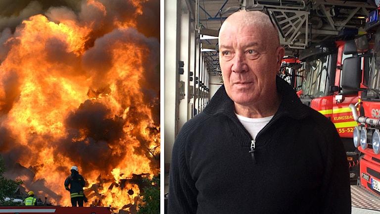 En bild av brandmannen Tommy Sand med en inklippt bild av brandmän som frösöker släcka en stor eldsvåda.