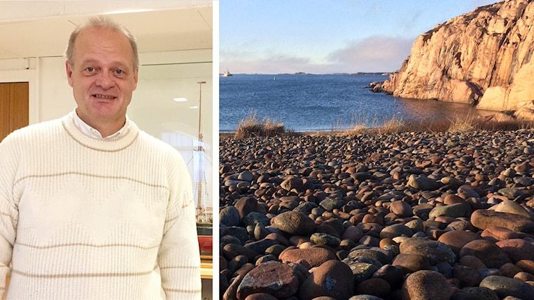 Lysekils kommunalråd Jan-Olof Johansson (S) och Metvik i Lysekil där den planerade djuphamnen eventuellt ska ligga.