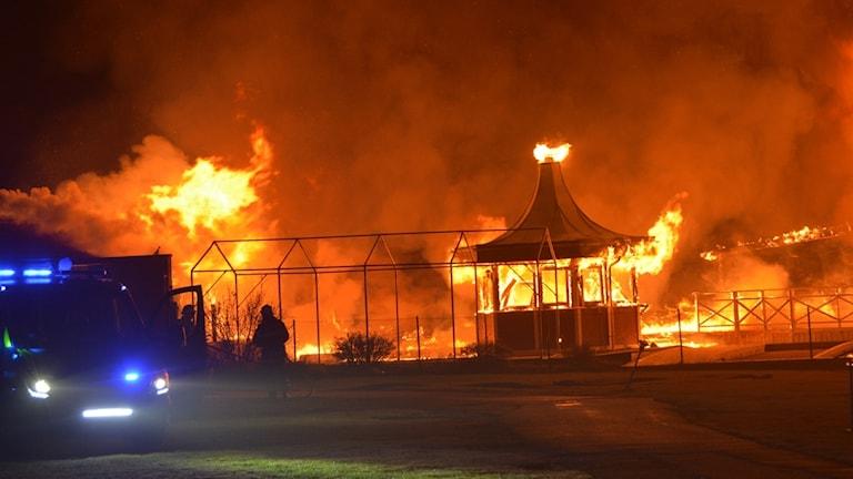 Brand på campingplats, Ellös.