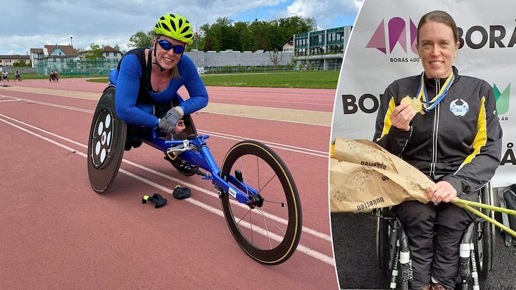 Paraidrottaren Gunilla Wallengren vid ett träningspass i Schweiz och vid prisutdelningen på friidrotts-SM i Borås.