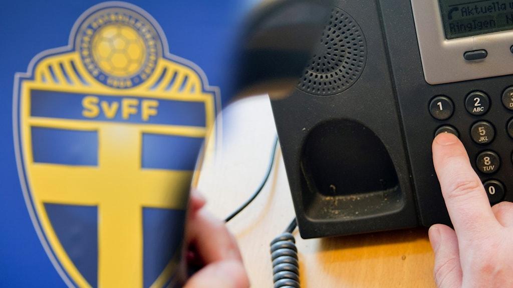 SVFF:s logga och en telefon.