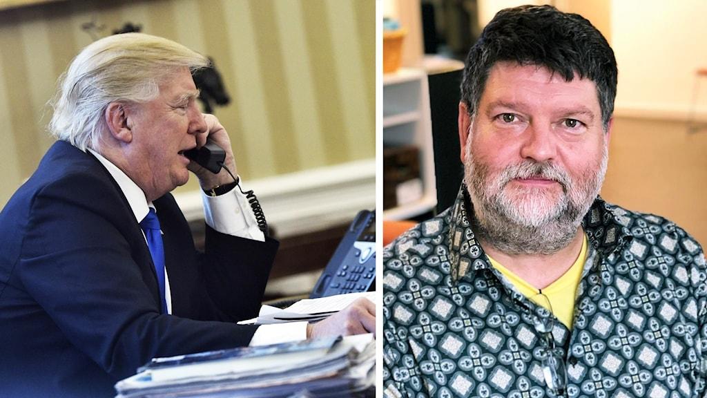 Collage: Trump i Telefon och Magnus Jacobsson (KD).