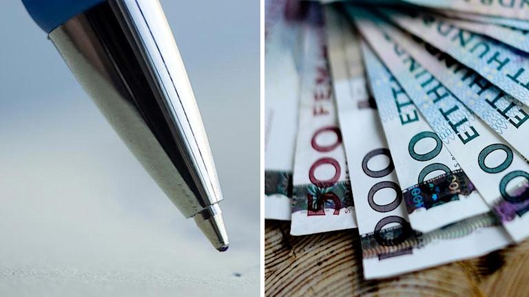 Montage på penna och pengar
