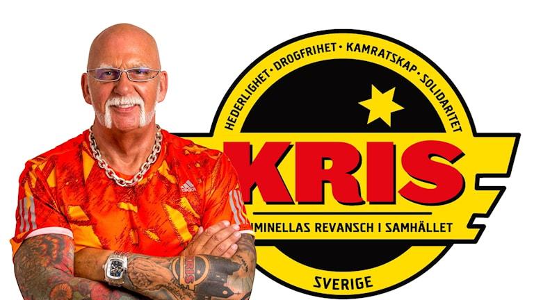 Kollage på Christer Karlsson och KRIS-loggan